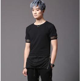 New Arrival Men's T Shirt Black Special Mesh Fashion Top