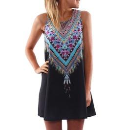 Women's Summer Printed Mini Boho Party Dress Plus Size