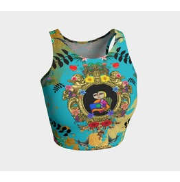 Funky Picasso Blue And Gold Sports Crop Top