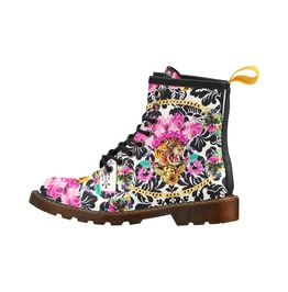 Funky Frou Frou Tiger Leather Combat Boots