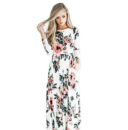 Womens Summer Floral Print Wrist Sleeve Maxi Dress Bohemian Style