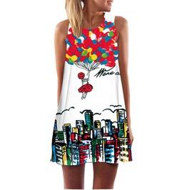 3 D Vintage Print Bohemian Beach Dress For Women Plus Size
