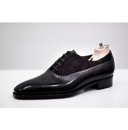 Handmade Men Black Suede And Leather Formal Shoes, Men Black Dress Shoes