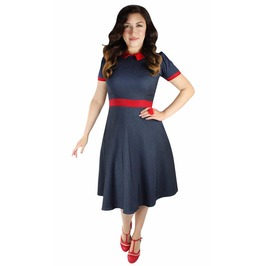 Blue Vintage Red Collar Circle Dress