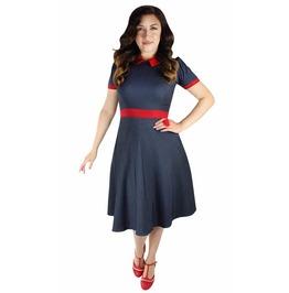 Blue Vintage Red Collar Circle Dress