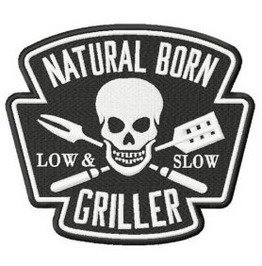 Natural Born Griller Skull Bbq Patch Iron/Sew On 3 Sizes And 2 Colors