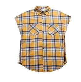 Mens Yellow Sleeveless Flannel Shirt