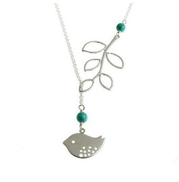 Silver Plated Blue Turquoise Bead Bird Leaf Branch Lariat Style Necklace