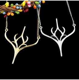 Country Girl Charming Gold Silver Plated Deer Antler Long Chain Necklaces