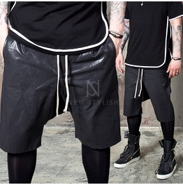 Glossy Coated Black Drawcord Shorts 70