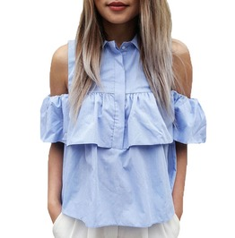 Summer Women's Casual Cold Shoulder Ruffled Top