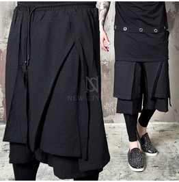 Wrap Double Layered Black Drawcord Shorts 72