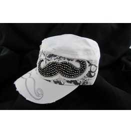 Distressed Designer Women's White Mustache Hat With Rhinestones