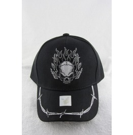 Flaming Skull With Barbed Wire Men's Designer Hat