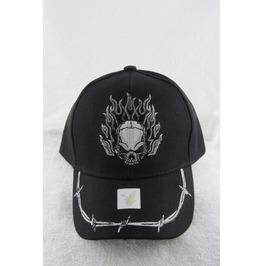 Flaming Skull With Barbed Wire Men's Designer Hat