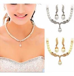 Ivory Pearl Gold Silver Swarovski Rhinestone Diamante Bridal Jewelry Sets