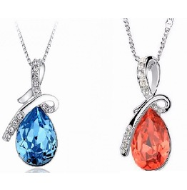 Sterling Silver Swarovski Crystal Diamond Tears Of Angel Waterdrop Pendants