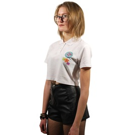Eat Me White Polo Crop Top