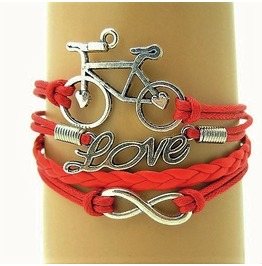 Boho Red Infinity Antique Silver Bike Leather Wrap Love Friendship Bracelet