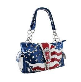 American Flag Rhinestone Buckle Western Concealed Carry Handbag