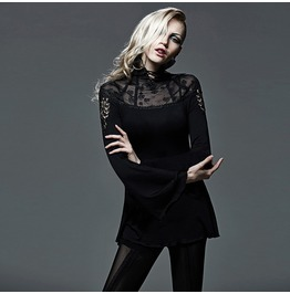 Punk Rave Gothic Sheer Long Sleeved High Collar Lace Tops T405