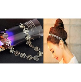 Chic Bohemian Gold Plated Rose Flower Metallic Hollow Elastic Hair Headband