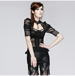 Punk Rave Gothic Sheer Halterneck Puff Sleeve Lace Tops T395
