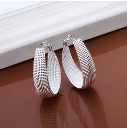 Simply Classic Elegance Sterling Silver Plated Hoop Drop Earrings