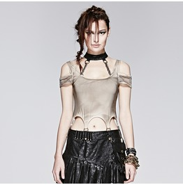Punk Rave Women's Off Shoulder Scalloped Tee With Metal Chain Choker T386
