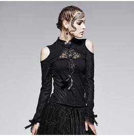 Punk Rave Women's Gothic Off Shoulder Stand Collar Lace Up Lace Tops T 379