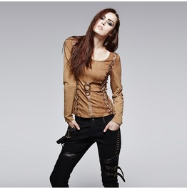 Punk Rave Women's Vintage Lace Up Backless Long Sleeved Shirts T378