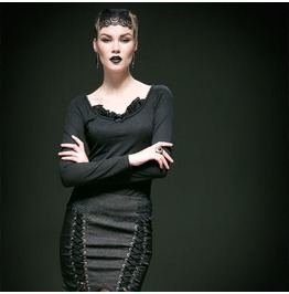 Punk Rave Gothic Lace Up Back Round Neck Long Sleeved Jacquard Tops T364