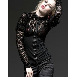 Punk Rave Women's Gothic High Collar Floral Lace Slim Fitted Tops T348