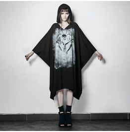 Punk Rave Women's Ghost Witch Hooded Bat Sleeve Cape Dress Pt117