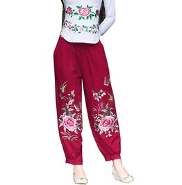 Women Hippie Ankle Length Flowers Embroidered Harem Pants Trousers