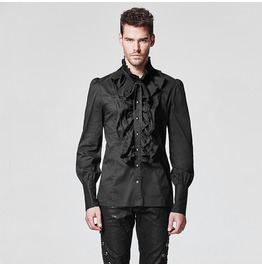 Punk Rave Men's Gothic Ruffles Slim Fitted Shirts Y597