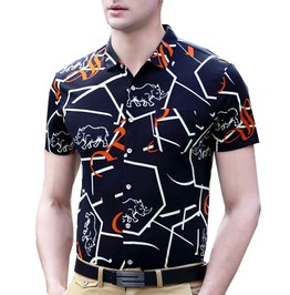 Rhino Letters Printed Short Sleeve Casual Dress Shirt Men
