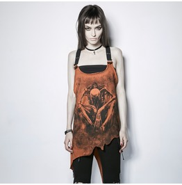 Punk Rave Women's Demon Bone Printed Halterneck Irregular Tank Tops Pt112