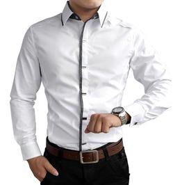Pleated Shoulders Button Design Long Sleeve Dress Shirt Men