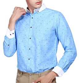 Two Color Anchor Print Long Sleeve Fashion Dress Shirt Men