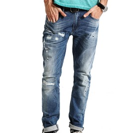 Light Wash Distressed Ripped Slim Fit Denim Jeans Men