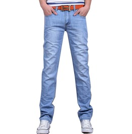 Slim Straight Cut Light Washed Denim Jeans Men