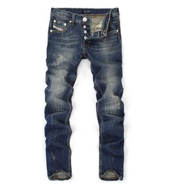 Straight Cut Medium Washed Ripped Fashion Cotton Denim Jeans Men
