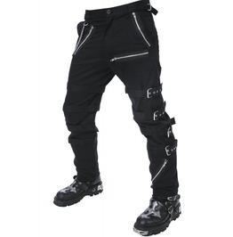 Dead Threads Men's Black Goth Punk Morte Pants Buckle Chain Trousers