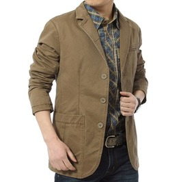 Slim Fit Cotton Denim Parka Casual Blazer Men Plus Size