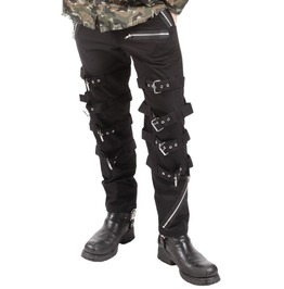 New Dead Threads Black Buckle Zips Chains Straps Trousers Cyber Goth Rave