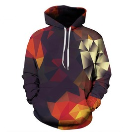 Geometric 3 D Print Kaleidoscope Hooded Jacket Sweatshirt