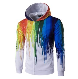 Dripping Paint 3 D Print Hoodie Jacket Men Women