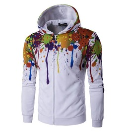 Color Oil Paint Splatter 3 D Print Hoodie Jacket Men Women
