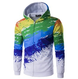 Color Paint 3 D Print Hoodie Jacket Men Women